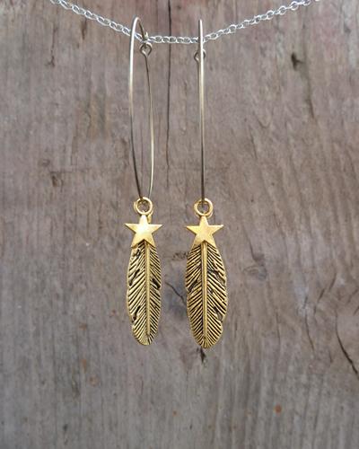 Door Roos oorbellen feather en star gold