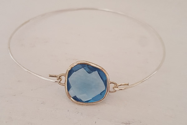 Door Roos armband sterling silver blue