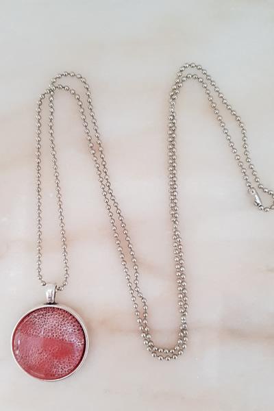 Door Roos rozenkwarts droze medaillon ketting