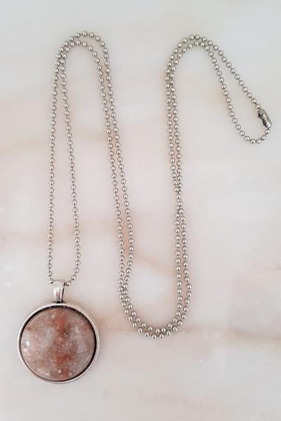 Door Roos edelsteen medaillon zilver ketting