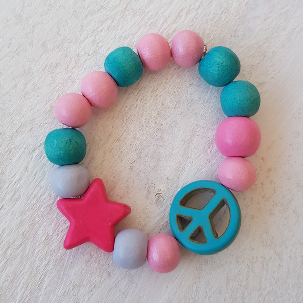 Door Roos kinderarmband Peace and Star